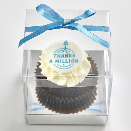 Corporate Classic size cupcake individually boxed clear cube with ribbon-423x423